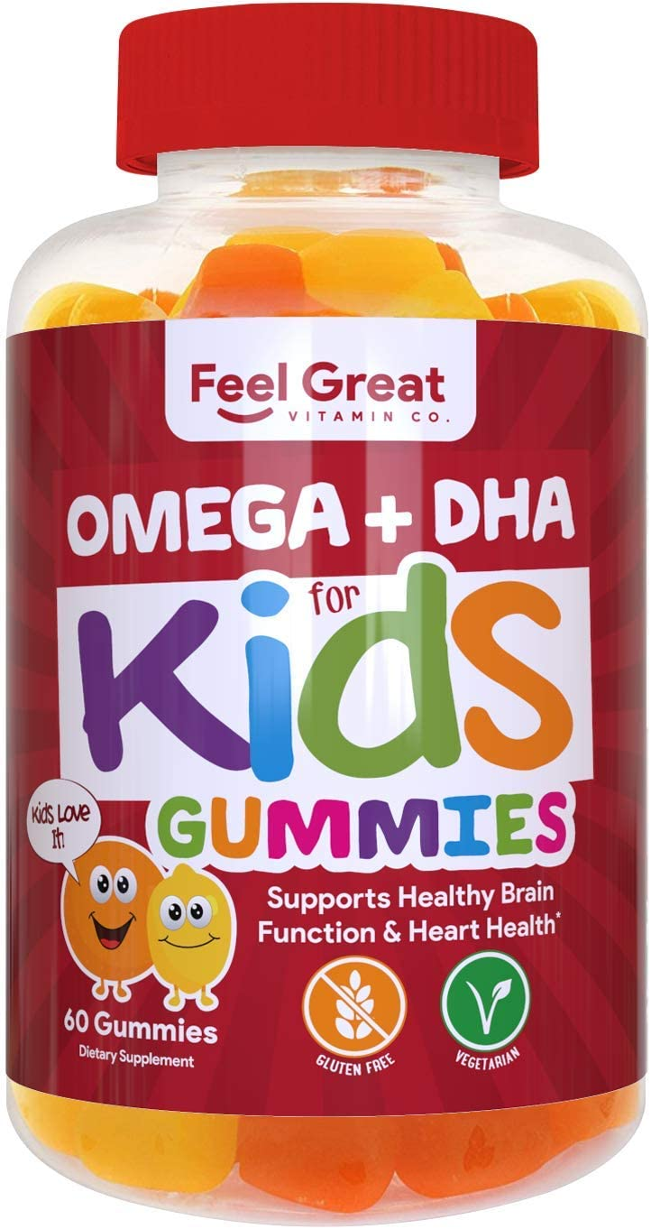 Complete DHA Gummies for Kids by Feel Great 365 1 Pack , Omega 3 6 9 from Algae, Chia, and Coconut Oil, Supports Healthy Brain Function, Vision, and Heart Health in a Chewable Vegan Supplement