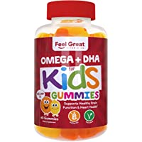 Complete DHA Gummies for Kids by Feel Great 365 (1 Pack), Omega 3 6 9 from Algae...