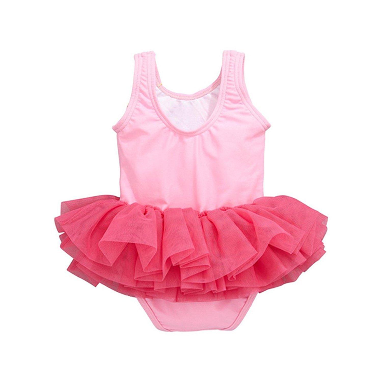 Mondayflower Baby Girls One Piece Swimsuit Cute Swan Bathing Suit Tutu Dress Swimwear