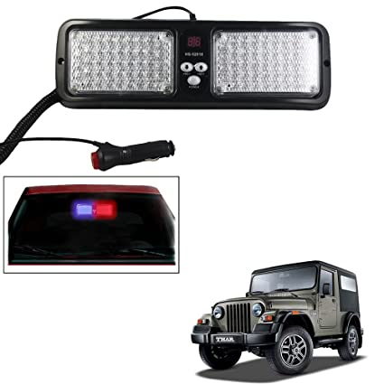 Vheelocityin Rear View Mirror Attachment Police Style Red And Blue LED  Flasher Light 25 Combinations For