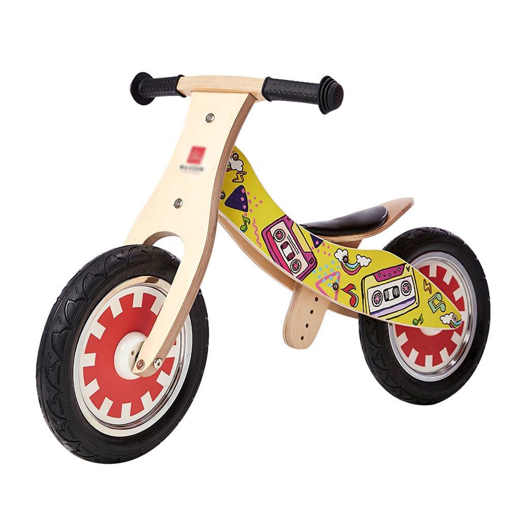 自転車を走らせていない子供ペダルを歩いていない自転車2つの丸い木製のキッドバランスバイク2-6歳 B07F5CX76SA