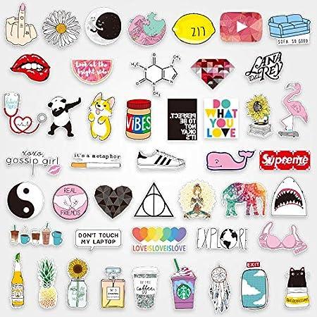 Cartoon Cute Sticker Pack Maleta Impermeable Portátil Patineta Guitarra Maleta Pegatinas 46Pcs: Amazon.es: Hogar