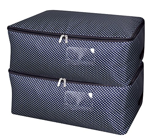 25.6X 14x 10.6 inches,Closet Storage Bag for Garments Organizer in Closet, Good Down Jacket, Winter Clothes Storage Baskets with Three-Side Open Zipper, Blue Star, Pack of ()