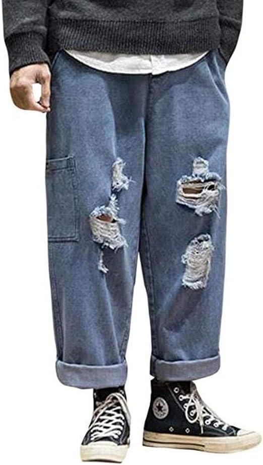 [ミートン] デニムパンツ メンズ ジーンズ ロングパンツ 加工 ゆったり 薄手 九分着 ファッション ジーンズ ストレート メンズ ワイドパンツ 春物