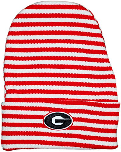 University of Georgia Bulldogs Striped Newborn Knit Cap Red - Newborn Team Baby Beanie