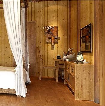 3D Imitacion Madera Papel Pintado Pared Rayas Mural Para Dormitorio Sala de Estar (F)