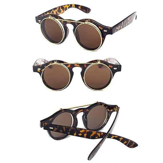 KINDOYO Hommes Femmes UV400 Vintage Retro Steampunk Lunettes de soleil Flip up Ronde Lunettes Aviateur, Noir-Brillant