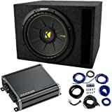 "Single 12"" Kicker CompC Sub Package with Kicker 46CXA400.1 Amp & Vented Enclosure"
