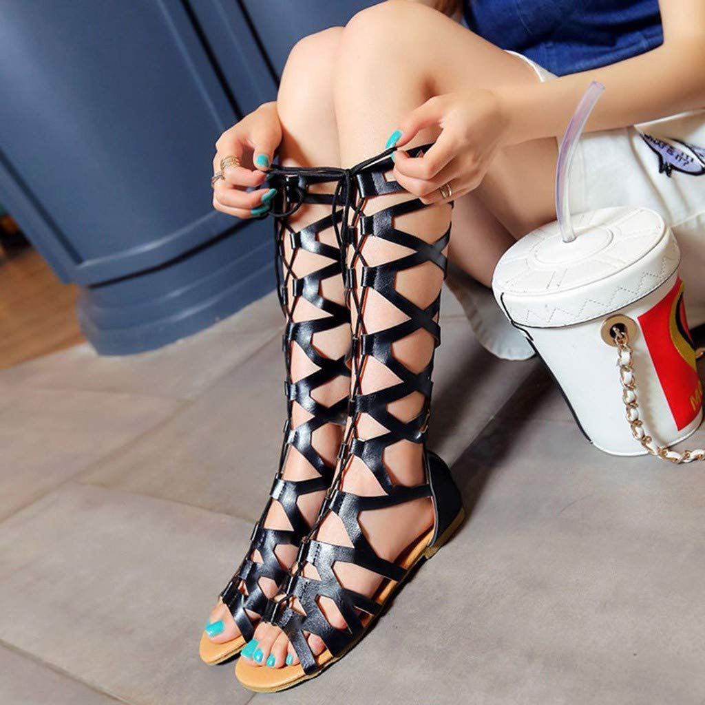 BODOAO Women Sandals Casual Flats Knee High Boots Roma Shoes Sandals