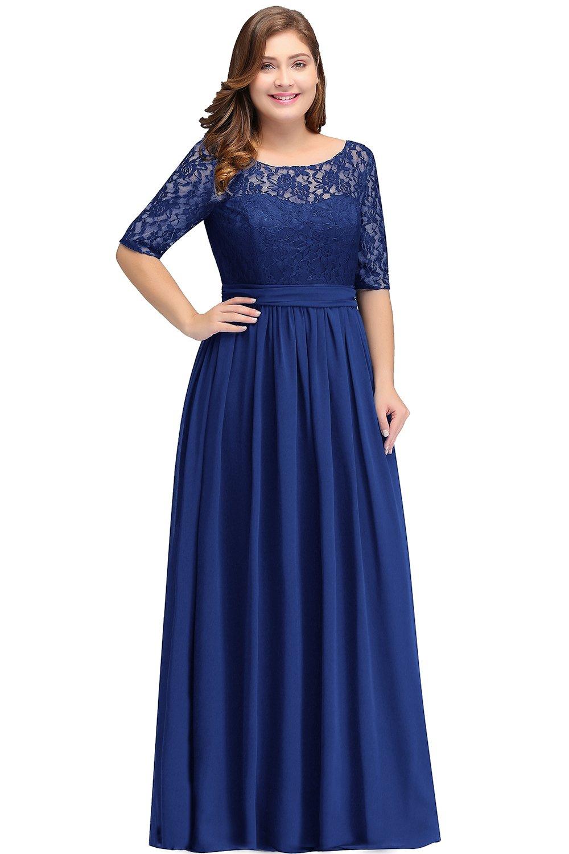 Babyonlinedress Womens Plus Size Chiffon Bridesmaid Dresses Sleeve Royal  Blue 14W