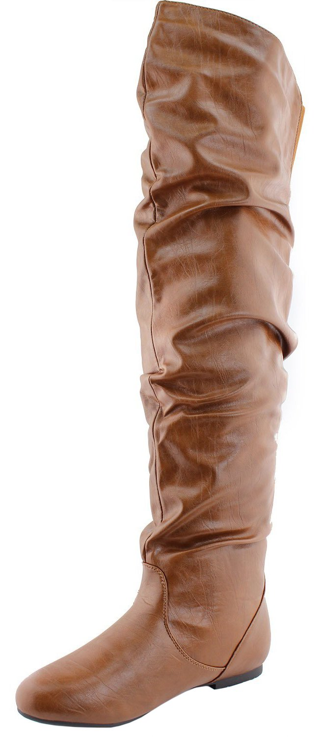 Nature Breeze Women's Vickie Hi Slouchy Over The Knee Boots (6 B(M) US, Tan PU)