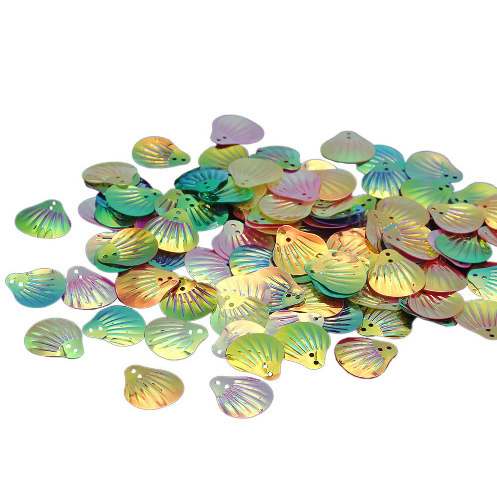 1000 Green Shell loose sequins Paillettes Top Hole sewing Wedding craft