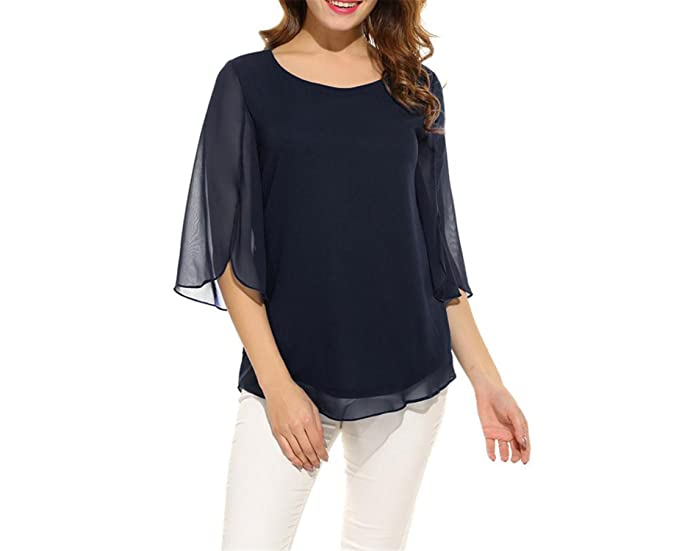 Processes Womens Blouse Blusas Summer Casual Flare Sleeve O Neck Tops