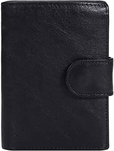 New Men Retro Oil Wax Genuine Cow Leather Bifold Wallet Purse Card Holder Pack
