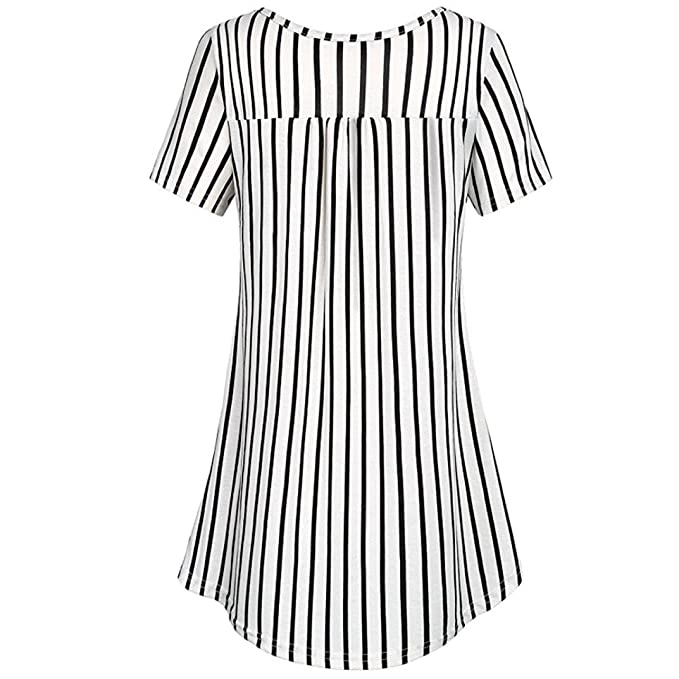 f15520eda11fb iQKA Women Plus Size Casual Basic Button Ruched Striped Tank Tunic Tops  Shirt at Amazon Women s Clothing store