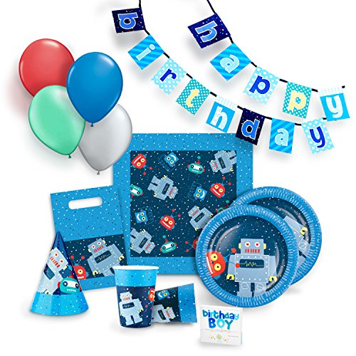 Robot Party Supplies (Robot Party Supplies Set for 12 - Birthday Party Kit includes Cups, Plates, Napkins, Balloons, Hats, Favor Bags, Candles and Banner)