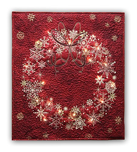 Easy Quilt Kit - Stonehenge Cranberry Red Wreath Starry Night Complete Wall Hanging Kit with Lights - Free Priority Shipping! ()
