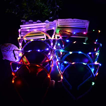 Women Girl Light-Up Flashing Headband LED Lighting Party glow head hoop Cat Ears