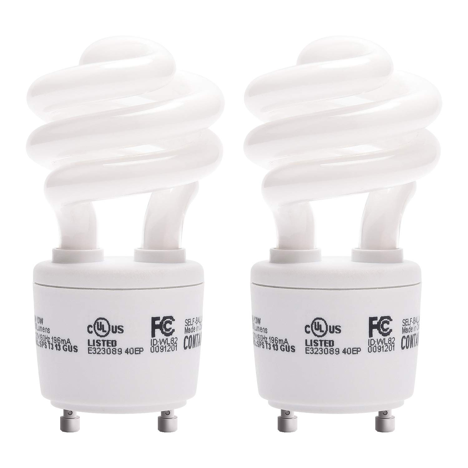 Gu24 CFL Light Bulbs JACKYLED 2-Pack UL T3 Spiral 13w Gu24 Base 120v 900lm Warm White 2700k Gu24 Fluorescent Light Bulbs Indoor Use