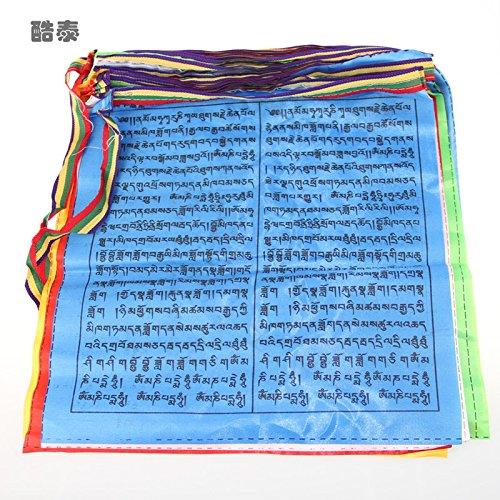 Tryforbest Tibetan Prayer Flag - Medium Traditional Design (10'' x 8'') - Roll of 25 Flags - Handmade - Buddhist Flags - Traditional 5 Element Colors