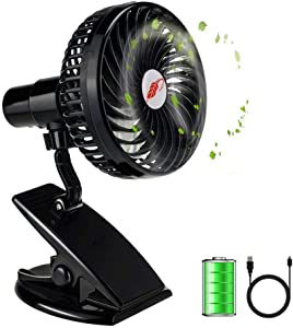 Battery Operated Clip on Fan, Happy-top 360 Degree Rotation Portable Rechargeable 3 Speeds Mini Desk Fan Clip and Table Fan Handheld Outdoor Fans Personal Cooling Fans Adjustable Head (Black)