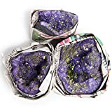Digging Dolls: 3 pcs Purple Geode Half with Golden Pyrite Inclusions from Morocco - 2-3 Inches Avg. - Beautiful Dyed Geode Halves for Arts, Crafts, Decoration, Wicca and Reiki Crystal Healing