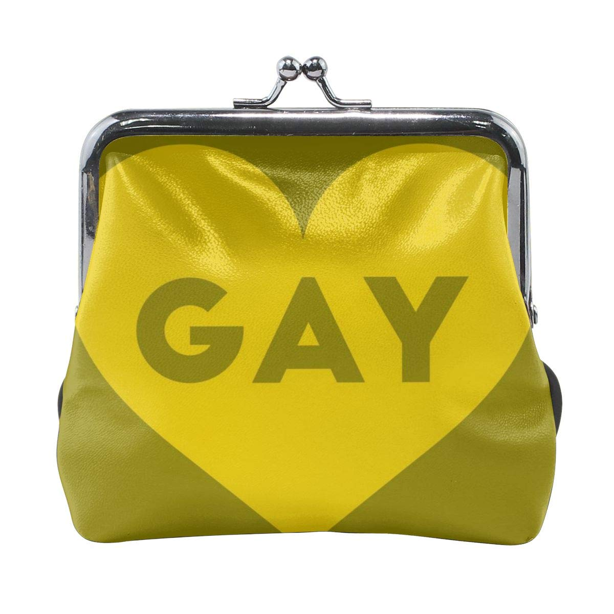 Green Love Flag Gay Vintage Pouch Girl Kiss-lock Change Purse Wallets Buckle Leather Coin Purses Key Woman Printed