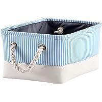 Mangata Materiałowe pudełko do przechowywania z lnu do pokoju dziecięcego, biura, organizacji domu (błękitne paski…