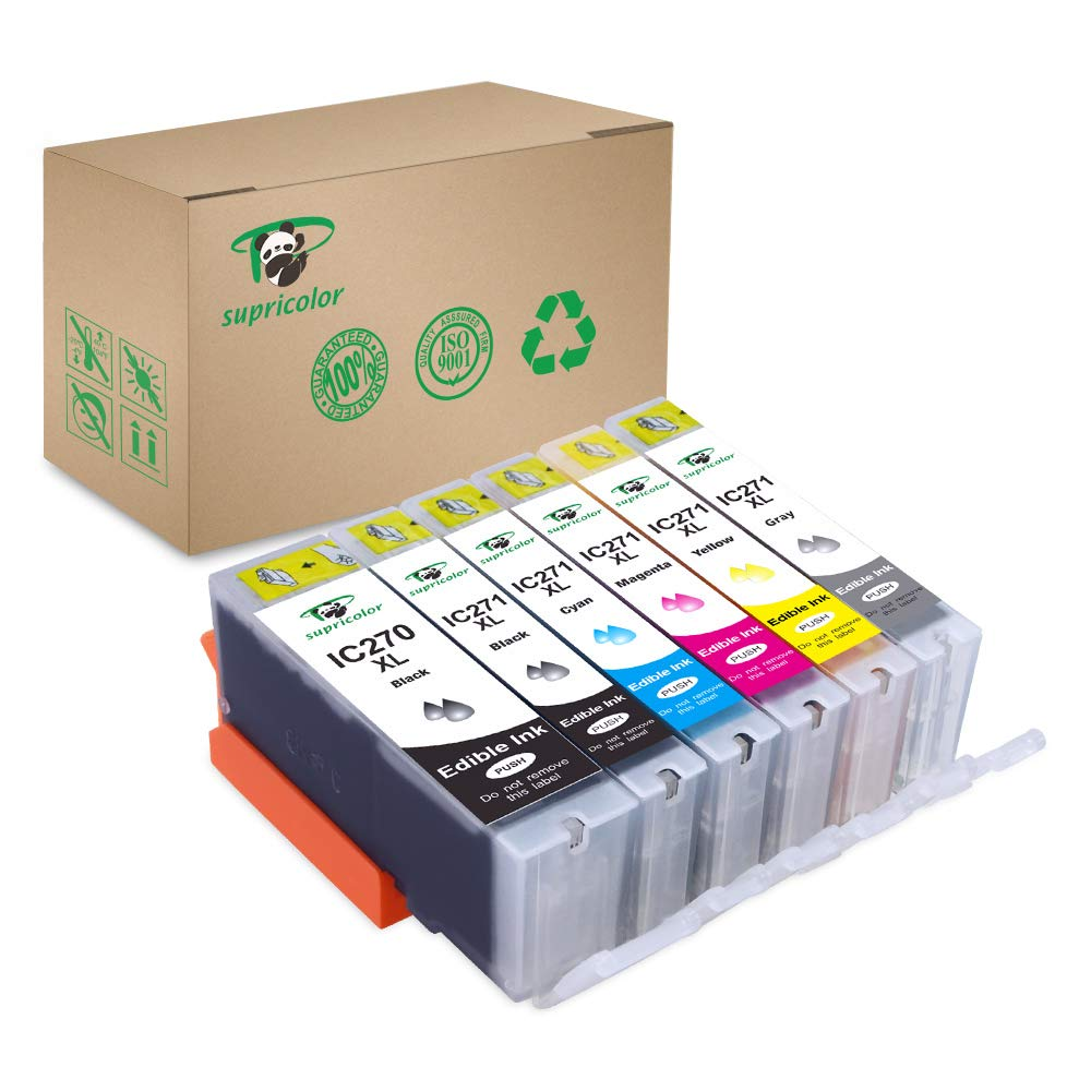 Supricolor 6 Pack 270xl 271xl Edible Ink Cartridge, Replacement for PGI-270XL PGI 270 CLI-271XL CLI 271 Compatible with PIXMA MG7720 TS9020 TS6020 by Supricolor (Image #1)