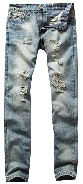 OULIU Men's Fashion Ripped Distressed Wash Slim Denim Jeans