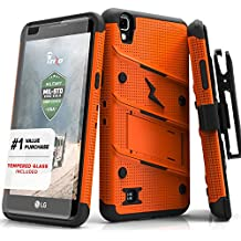 Zizo BOLT Series compatilbe with LG Tribute HD Case Military Grade Drop Tested with Tempered Glass Screen Protector Holster LG X Style ORANGE BLACK
