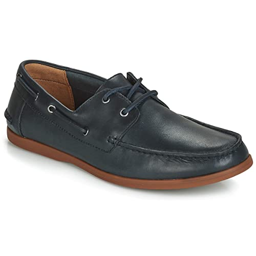 Clarks Morven Sail Leather Shoes in Navy Standard Fit Size 7