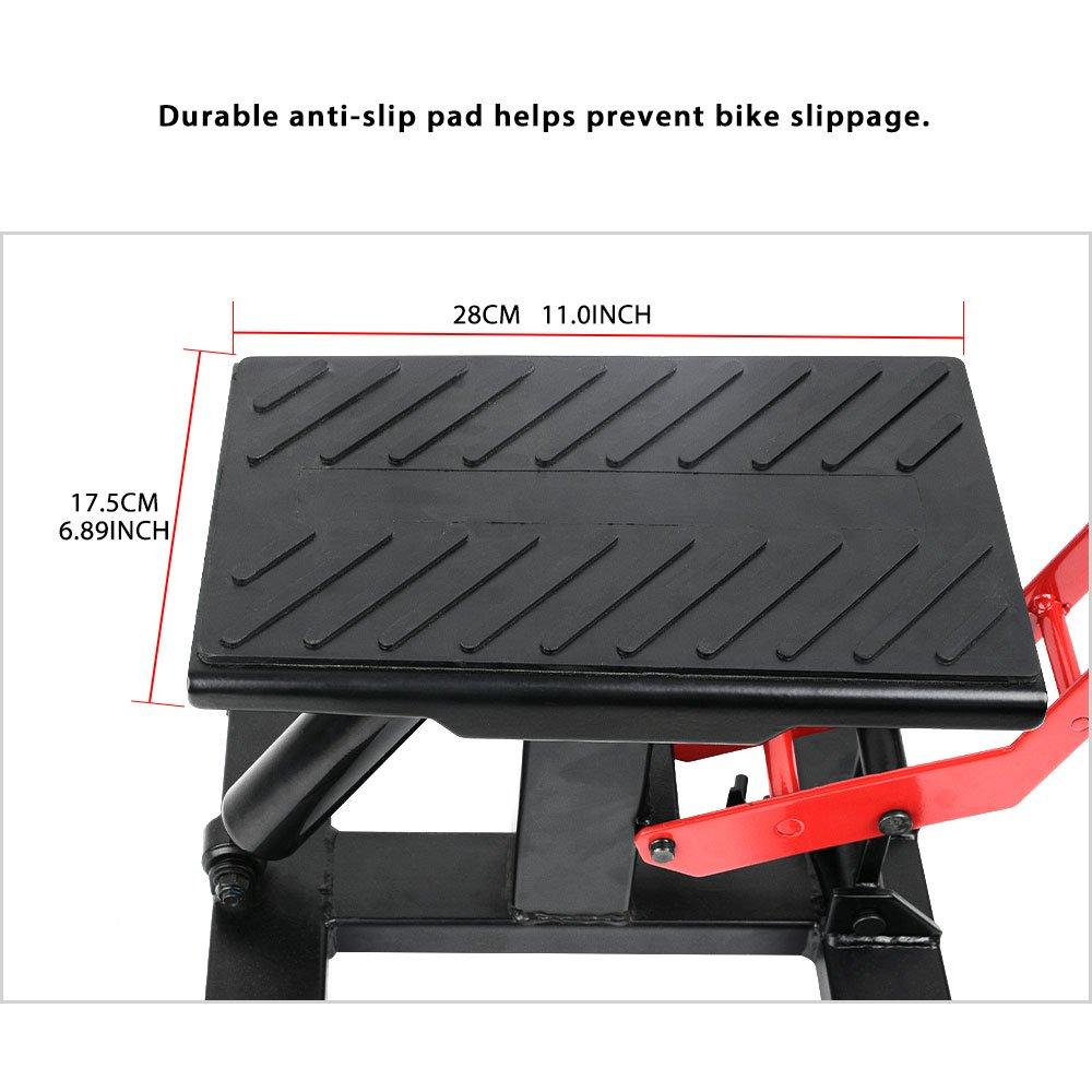 YITAMOTOR Red/Black Dirt Bike Motorcycle Motocross Maintenace Adjustable Lift Steel Stand 330 LB Load Capacity by YITAMOTOR (Image #3)