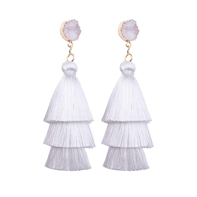 dd1ad91ac0e7dc Image Unavailable. Image not available for. Color: ANAKIKI Women's Three Layered  Tassel Earrings Solid Tiered ...