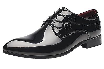 df14399e1a4c Santimon Dress Shoes for Men Pointed Toe Classic Patent Leather Lace Up  Oxford Black 5.5 D