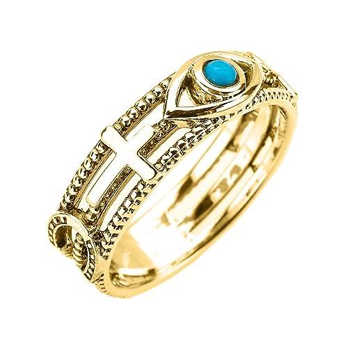 adada99b19c2 Sólido anillo de 14k de oro amarillo. La piedra azul del ojo es de buena  suerte y esta expertamente hecho a mano con un fino acabado pulido.