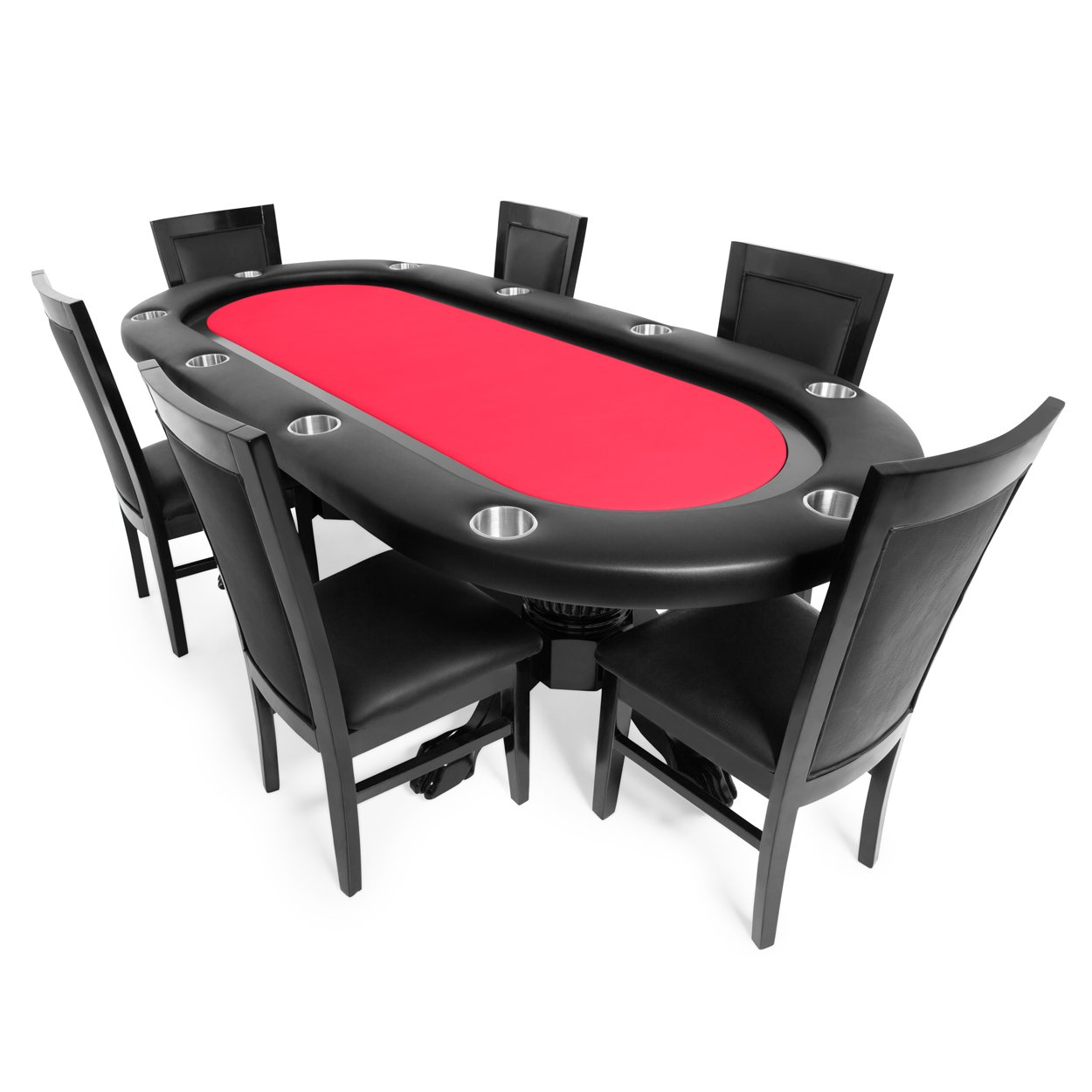 BBO Poker Elite Poker Table for 10 Players with Red Felt Playing Surface, 94 x 44-Inch Oval, Includes 6 Dining Chairs
