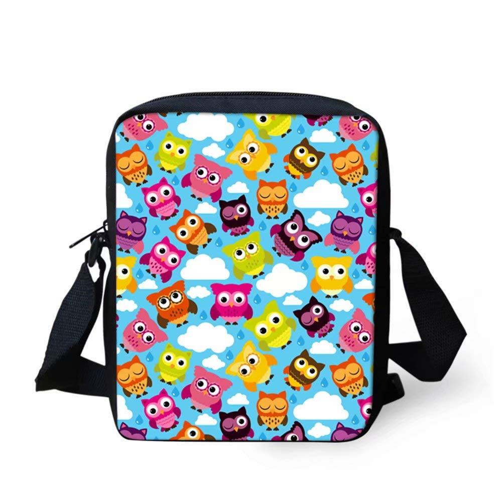 UNICEU Cartoon Owl Pattern Purse Adjustable Strap Messenger Bags Fashion Portable Shoulder Crossbody Bag for Teen Children