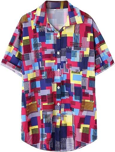 CAOQAO Camisa Hombre Camisetas Hombre Hawaiana Manga Corta Verno Raya Colorida Impresa étnica del Collar del Soporte: Amazon.es: Ropa y accesorios