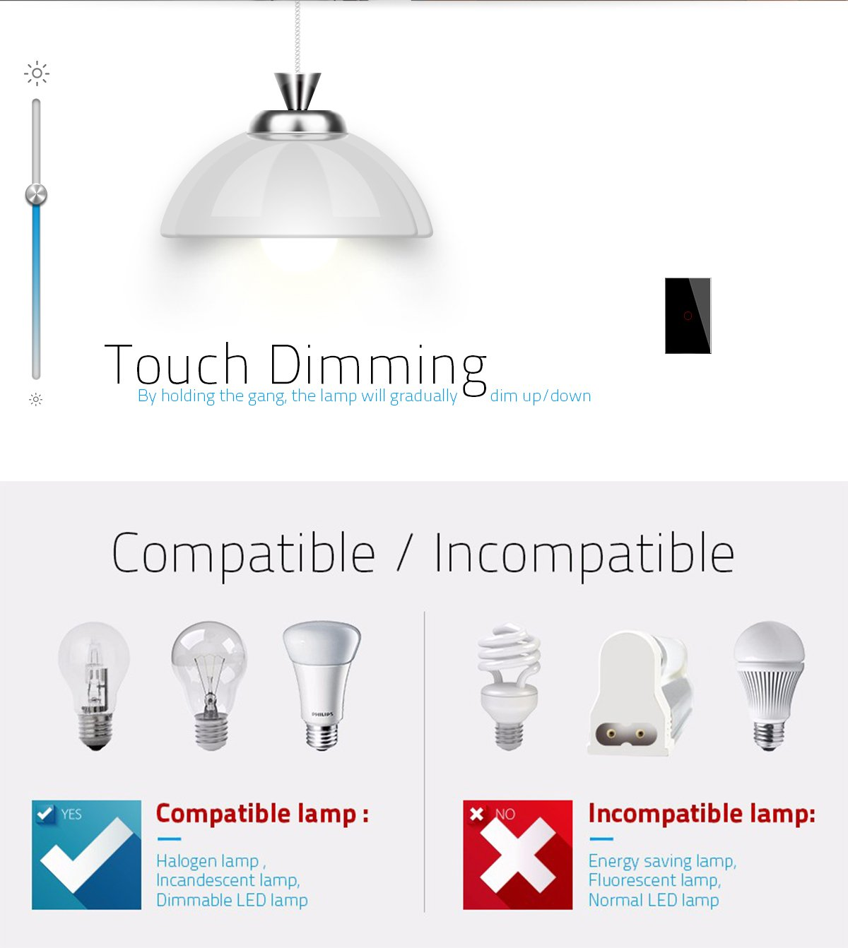 LIVOLO Black US Standard 1 Gang 1 Way Wall Light Touch&Remote Dimmer Switch With LED Indicator AC 110-220V, C501DR-12 - - Amazon.com