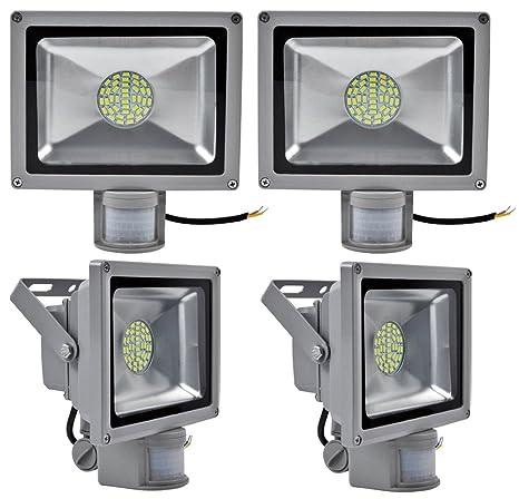 Leetop 4X Interior y Exterior 30W LED Focos Blanco Frio con Sensor de Movimiento,con