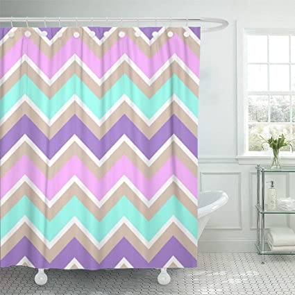 Shower Curtain 72x72 Classic Chevron Turquoise White Purple Pink Cream Color Pastel Abstract Angular Mildew Resistant