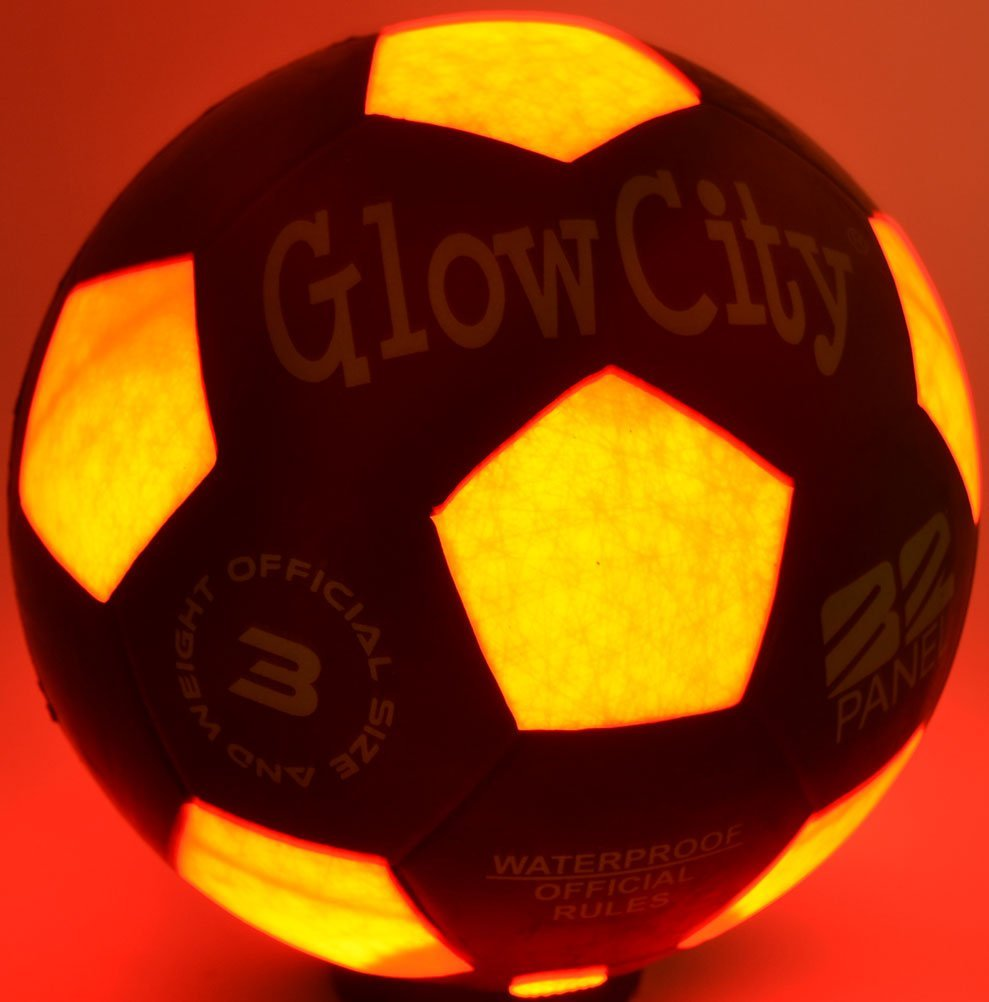 GlowCity Size Three Light Up LED Soccer Ball-Uses Two Hi-Bright LED Lights by GlowCity