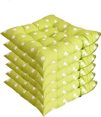 AGDLLYD 6 cómodos Cojines para Silla,Cojines de Silla Exterior,Cojines de terraza,Cocina de jardín Cojines de Silla de Comedor 40x40 cm Crema Cena Silla Pad (Punto Verde, 6 Piezas): Amazon.es: Hogar