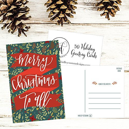 50 Holiday Greeting Cards, Cute Fancy Blank Winter Christmas Postcard Set, Bulk Pack of Premium Seasons Greetings Note, Mistletoe Happy New Years for Kids, Business Office or Church Thank You Notes Photo #6