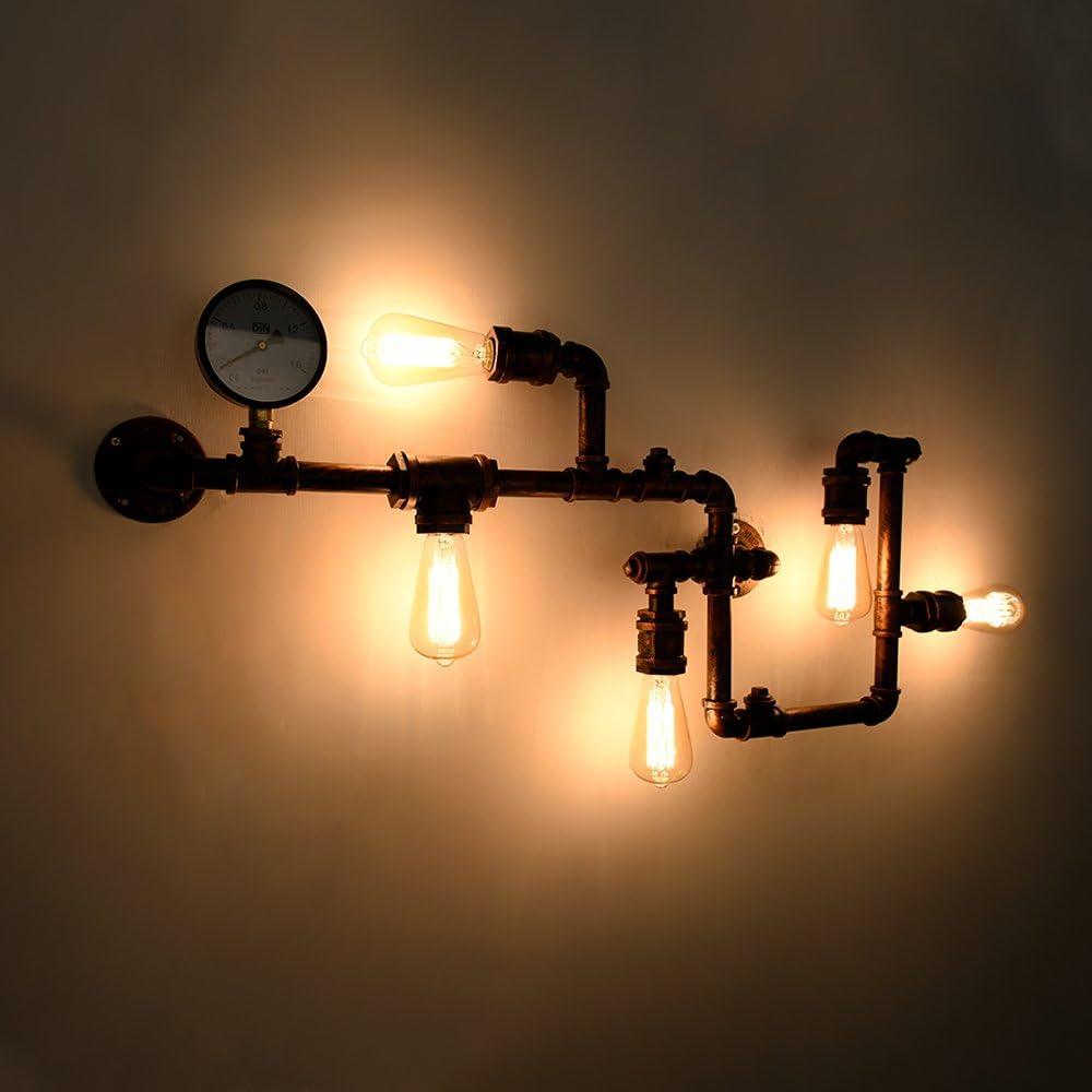 OYIPRO Rétro Appliques Conduite d\'eau Lèche-murs 5 E27 pour la décoration couloir restaurant café (Sans ampoules) Rouille