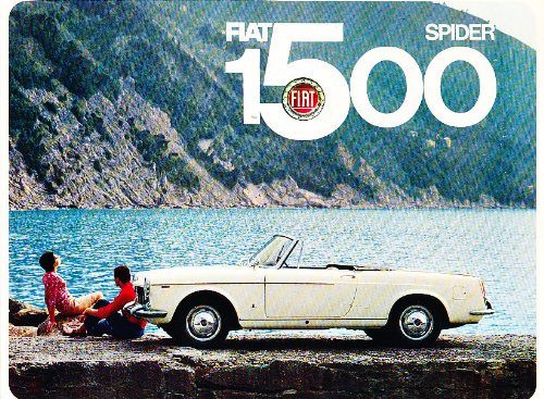1965 Fiat 1500 Spider Roadster Original Sales Brochure Catalog