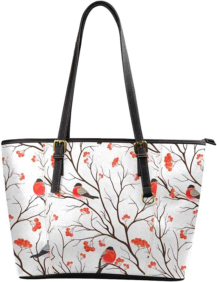 InterestPrint Women Tote Bags Top Handle Handbags PU Leather Purse Bullfinches