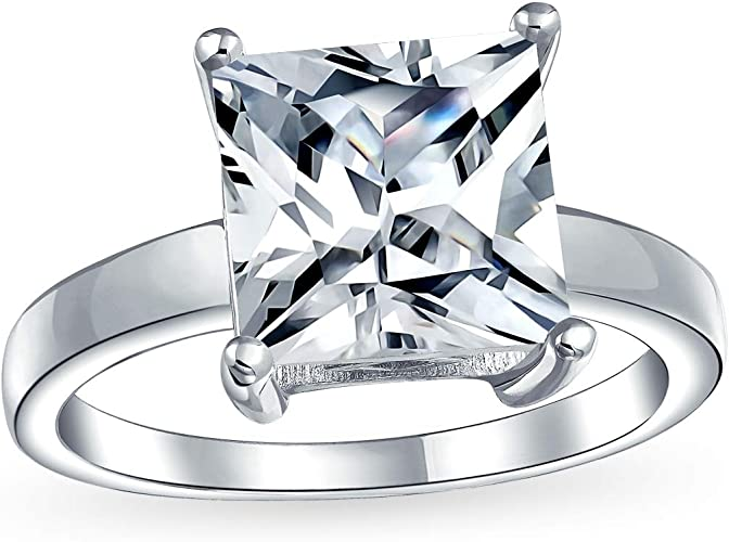 Hand crafted Ring. Sterling Silver 925 Ring With Cubic Zirconia in Square shape Engagement Ring