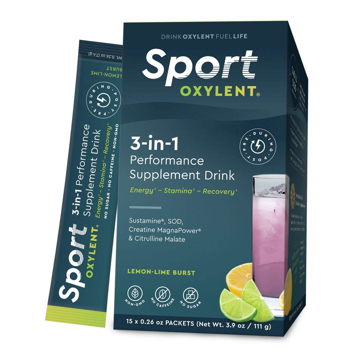 Oxylent Sport 3-in-1 Performance Supplement Drink - Sugar-Free, Effervescent, Easy Absorption of Vitamins, Creatine Minerals, Natural Energy, Supports Stamina, Lemon-Lime Burst Flavor, 15 Count